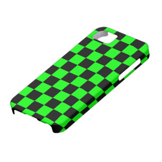 Black and Neon Green Checkerboard Design iPhone SE/5/5s Case