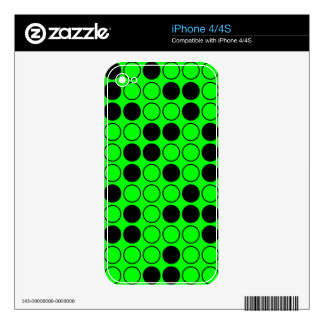 Black and Neon Green Polka Dot Pattern Skin For iPhone 4S