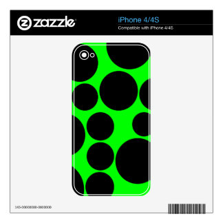 Black and Neon Green Polka Dot Pattern iPhone 4 Decal