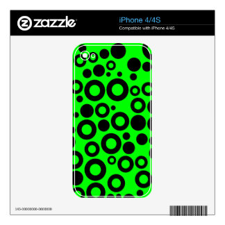 Black and Neon Green Polka Dot Pattern Skins For iPhone 4