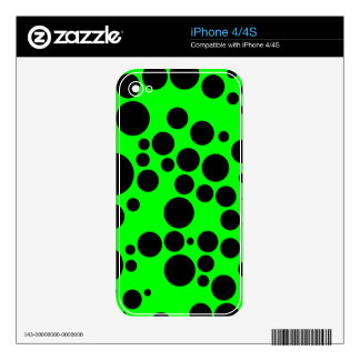 Black and Neon Green Polka Dot Pattern Decal For iPhone 4S