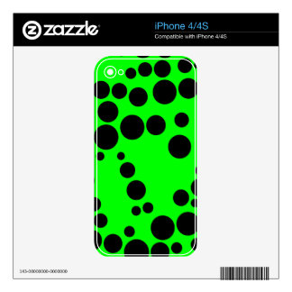 Black and Neon Green Polka Dot Pattern iPhone 4 Decals