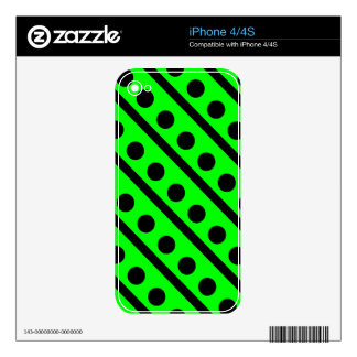 Black and Neon Green Polka Dot Pattern Decals For The iPhone 4S