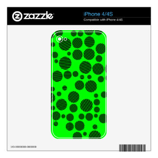 Black and Neon Green Polka Dot Pattern Decal For The iPhone 4