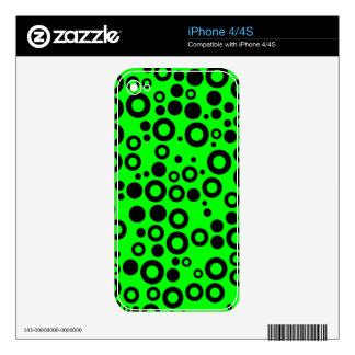 Black and Neon Green Polka Dot Pattern Skin For The iPhone 4