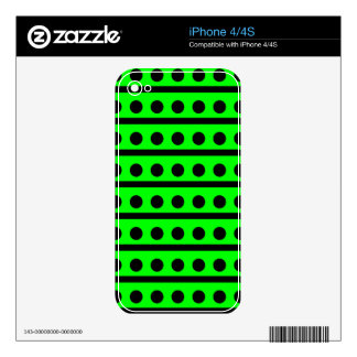 Black and Neon Green Polka Dot Pattern Decals For The iPhone 4