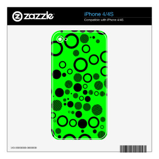 Black and Neon Green Polka Dot Pattern iPhone 4 Skins