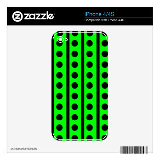 Black and Neon Green Polka Dot Pattern Skins For The iPhone 4