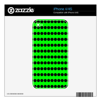 Black and Neon Green Polka Dot Pattern Decal For The iPhone 4S