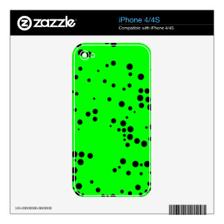 Black and Neon Green Polka Dot Pattern Decals For iPhone 4