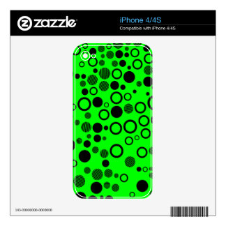 Black and Neon Green Polka Dot Pattern iPhone 4S Decals