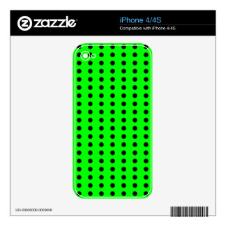 Black and Neon Green Polka Dot Pattern Skin For iPhone 4