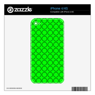 Black and Neon Green Polka Dot Pattern Decal For iPhone 4
