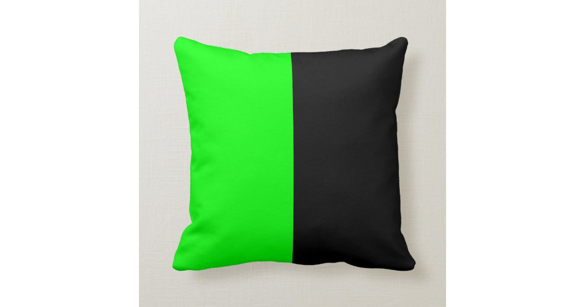 Neon Blue Throw Pillows : Black and Neon Green Split Color Throw Pillow Zazzle