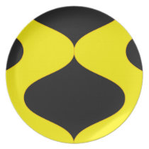 Black and Nu Gold Smooch Melamine Plate