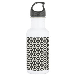 Black and Off-White Wavy Retro Pattern Water Bottle