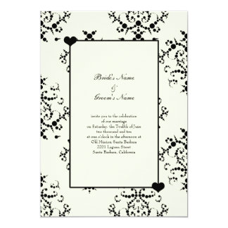 Black and Off White Wedding Invitations