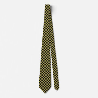 Black and Old Gold Checked Tie