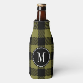 Black and Olive Buffalo Check Monogram Bottle Cooler