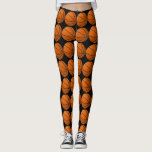 "Black and Orange Basketball Leggings<br><div class=""desc"">Cute leggings for around town or basketball practice.  These black leggings feature graphic pictures of black and orange basketballs all over them.  Perfect for any basketball player.</div>"