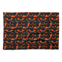 black and orange bats halloween pattern kitchen towel