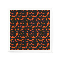 black and orange bats halloween pattern napkin