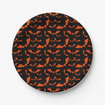 black and orange bats halloween pattern paper plate