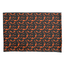 black and orange bats halloween pattern pillow case
