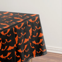 black and orange bats halloween pattern tablecloth