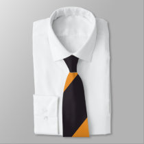Black and Orange Broad Regimental Stripe Tie