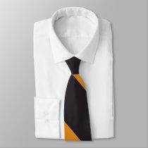 Black and Orange Broad University Stripe Tie