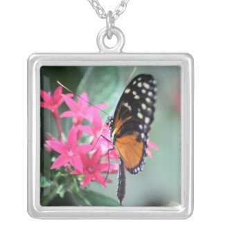 Black and Orange Butterfly Necklace necklace