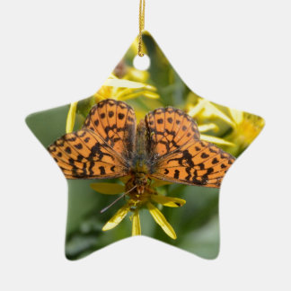 Black and Orange Butterfly on Yellow Flowers Ceramic Ornament