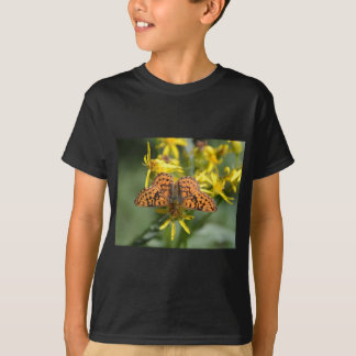 Black and Orange Butterfly on Yellow Flowers T-Shirt