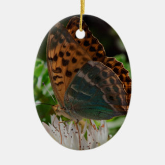 Black and Orange Butterfly with Spots. Ceramic Ornament