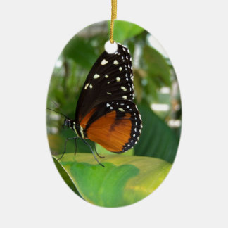 Black and Orange Butterfly with White Spots Ceramic Ornament