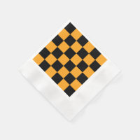 Black and Orange Check Pattern Paper Napkin
