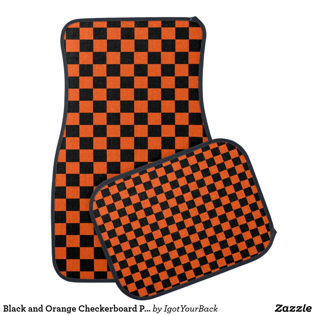 Black and Orange Checkerboard Pattern Car Mat
