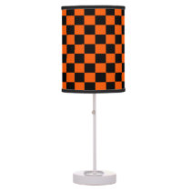 Black and Orange Checkered Shaded Lamp