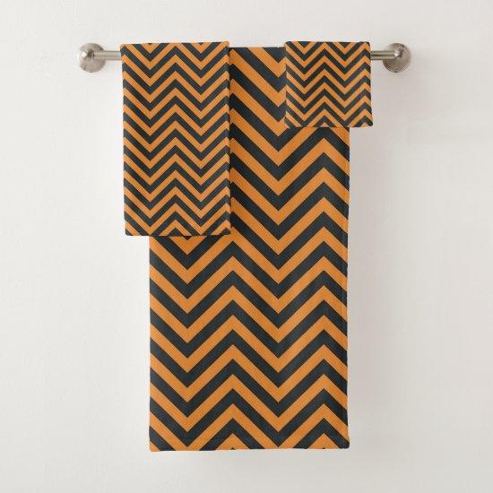 Black And Orange Chevron Halloween Colored Bath Towel Set