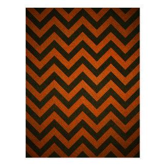 Black and Orange Chevron Stripes Postcard