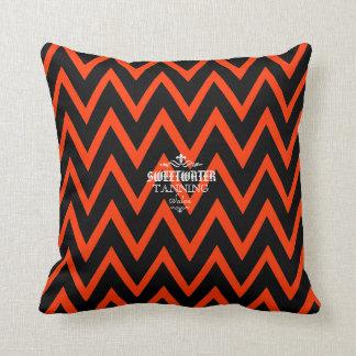 Black and Orange Chevron Throw Pillows