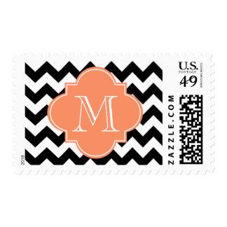 Black and Orange Chevron With Custom Monogram Stamps