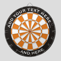Black and Orange Dartboard with custom text