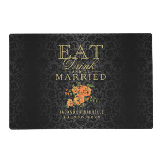 Black and Orange - Eat Drink and Be Married Placemat
