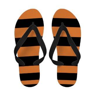 Black and orange flip flops for women