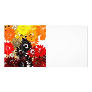 Black and orange floral card