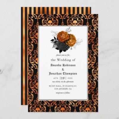 Black and Orange Floral Gothic Wedding Invitation
