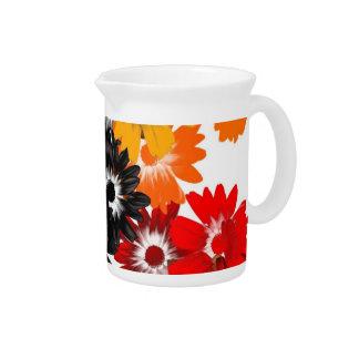 Black and orange floral pitcher