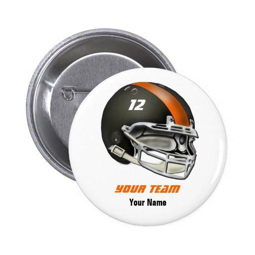 Black and Orange Football Helmet Pinback Buttons